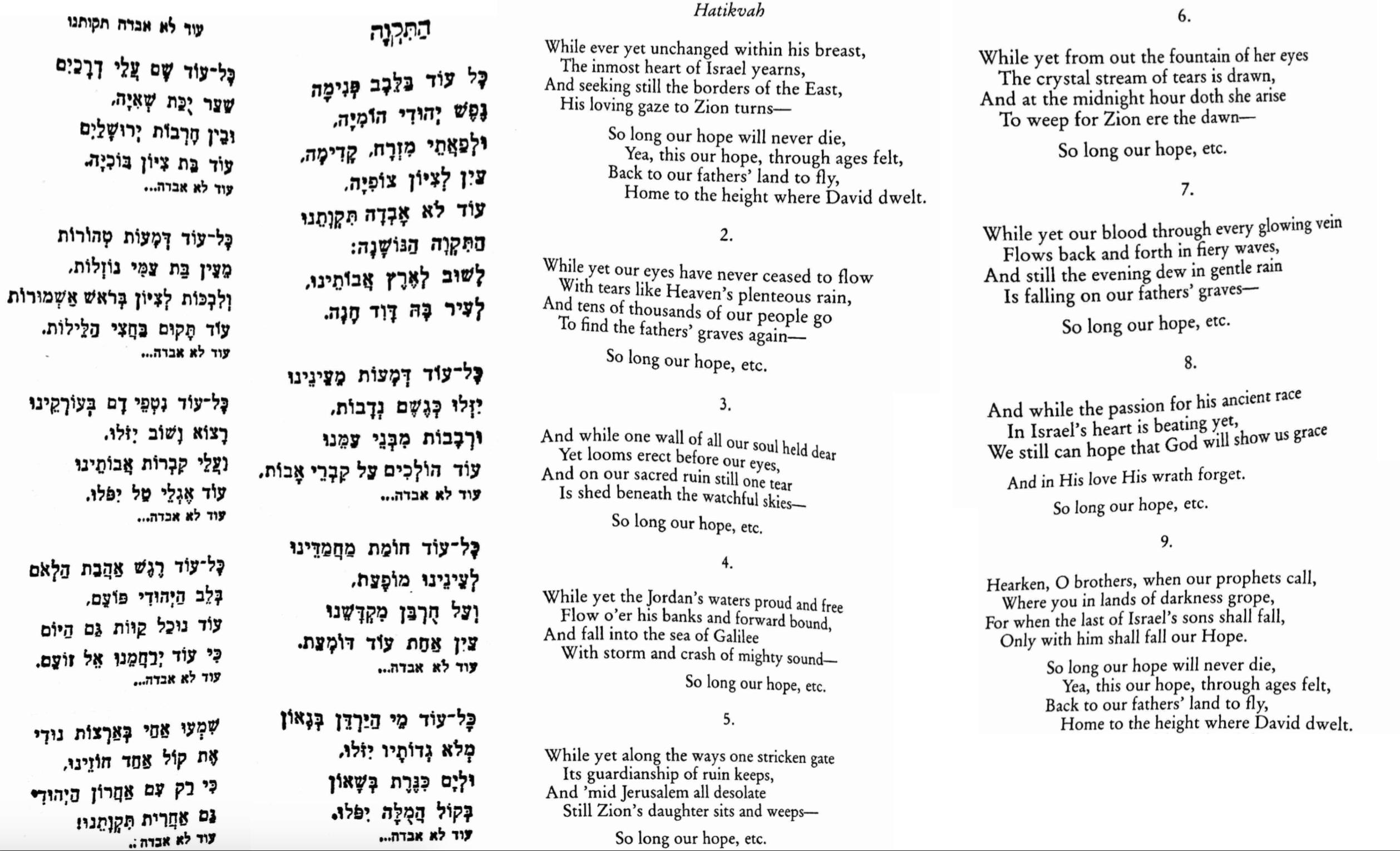 "Hebrew words of Naphtali Herz Imber poem ""Tikvoseynu"" with English translation by Nina Salaman"