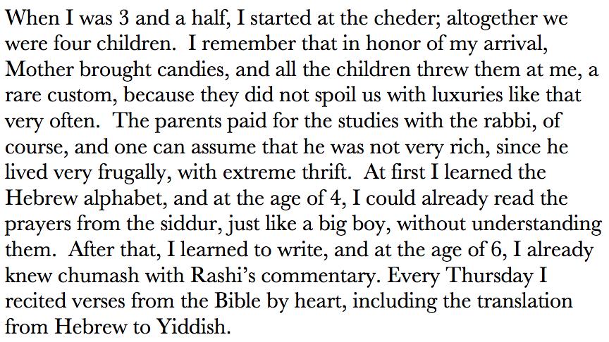 Excerpt of Peretz Litmann's memoir The Boy From Munkács, describing his first day of kheyder.
